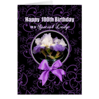 Birthday - 100th - Special Lady - Purple Iris Card