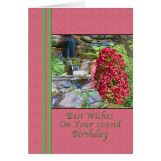 Birthday, 102nd, Bougainvillea, Birds, Waterfall Card
