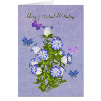 Birthday, 102nd, Butterflies and Bell Flowers Card