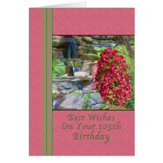 Birthday, 105th, Bougainvillea, Birds, Waterfall Card