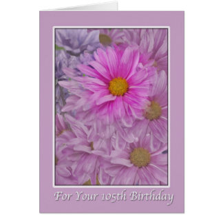 Birthday, 105th, Pink Gerbera Daisies Card
