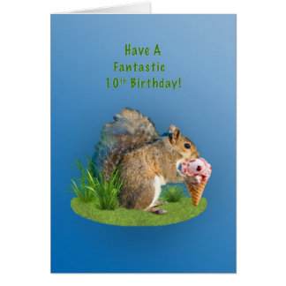Birthday, 10th, Squirrel With Ice Cream Cone Greeting Card
