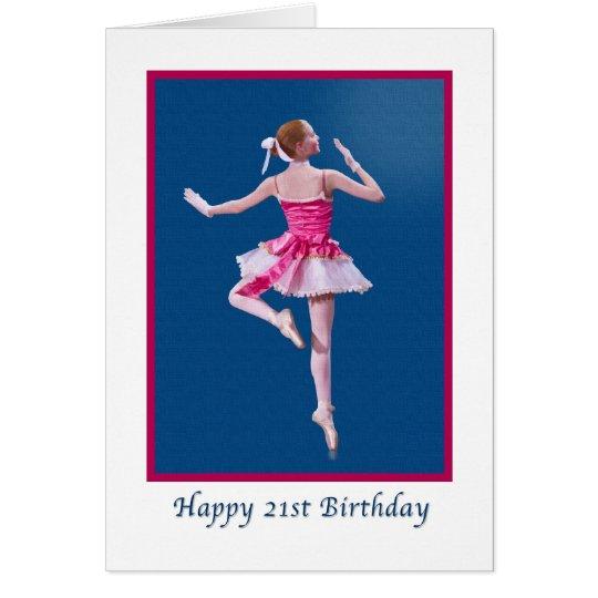 Birthday, 21st, Dancing Ballerina on Blue Card