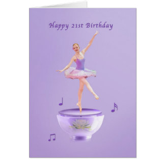 Birthday, 21st, Music Box Ballerina Greeting Card