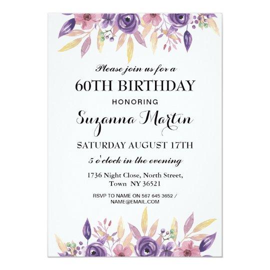 Birthday 40th 60th Lavender Floral Vintage Invite