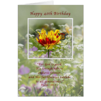 Birthday, 40th, Tulip and Butterfly, Religious Greeting Card