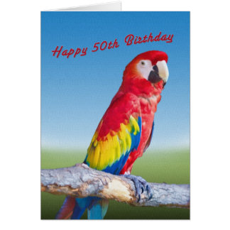 Birthday, 50th, Macaw Parrot Greeting Card