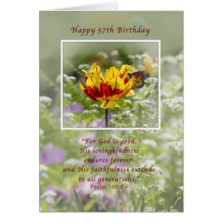 Birthday 57th Tulip and Butterfly Religious Greeting Card