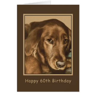 Birthday, 60th, Golden Irish Dog Card