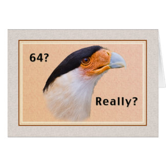 Birthday, 64th, Crested Caracara Bird Card