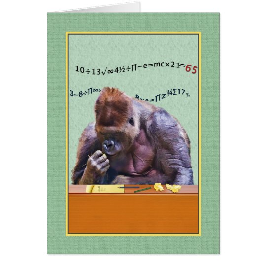 Birthday, 65th, Gorilla at Desk Card