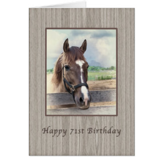 Birthday, 71st, Brown Horse with Bridle Card