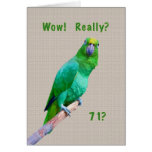 Birthday, 71st, Green Macaw Parrot on a Limb Greeting Card