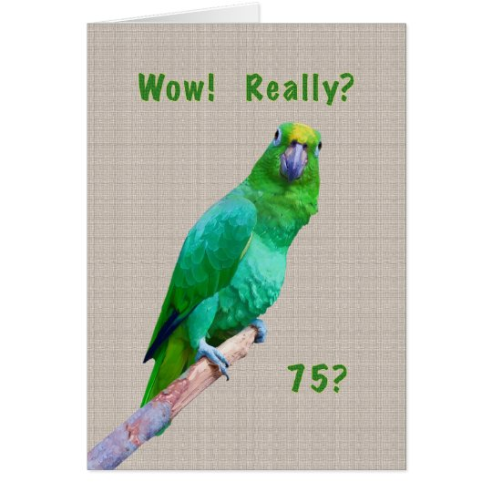 Birthday, 75th, Green Macaw Parrot on a Limb
