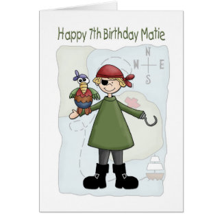 Birthday 7 Pirate Card