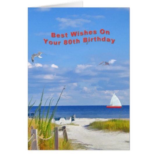 Birthday, 80th, Beach and Ocean View Card