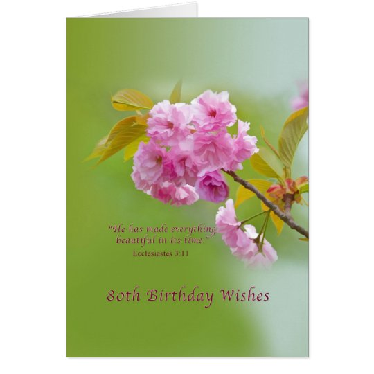 Birthday, 80th, Cherry Blossoms, Religious Card