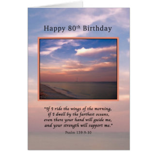 Birthday, 80th, Sunrise at the Beach, Religious Card