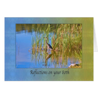 Birthday, 80th, Tricolored Heron, Reflections Card