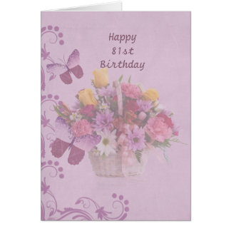 Birthday, 81st, Basket of Flowers and Butterflies Greeting Card