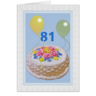 Birthday, 81st, Cake and Balloons Greeting Card