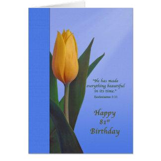 Birthday, 81st, Golden Tulip Flower Greeting Card