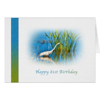 Birthday, 81st, Great Egret at the Pond Greeting Card