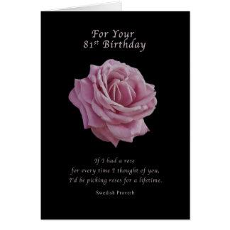 Birthday, 81st, Pink Rose on Black Card