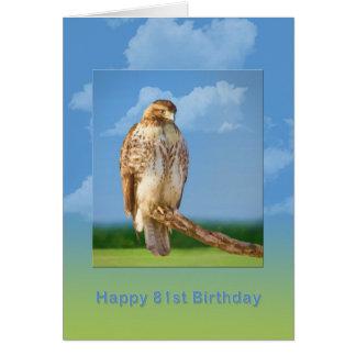 Birthday, 81st, Rough Legged Hawk Greeting Card