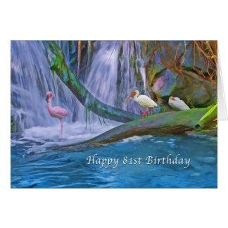 Birthday, 81st, Tropical Waterfall, Wild Birds Greeting Card