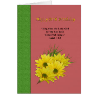 Birthday, 87th, Yellow Daisies, Religious Greeting Card