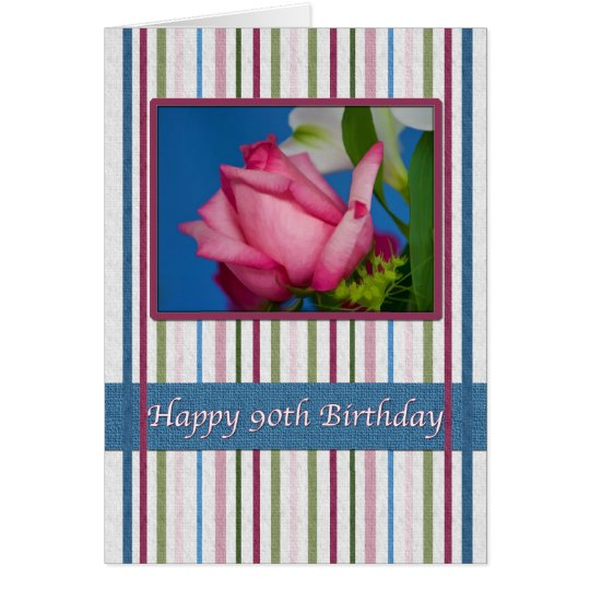 Birthday, 90th, Red Rose Card