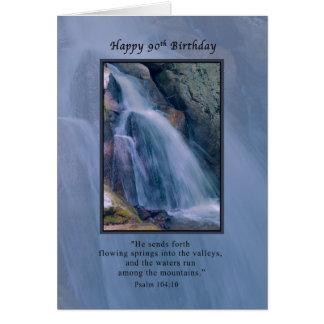 Birthday, 90th, Religious, Mountain Waterfall Greeting Card