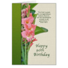 Birthday, 90th, with Pink Gladiolus Card