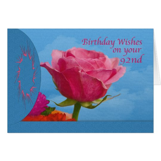 Birthday, 92nd, Pink Rose on Blue Card