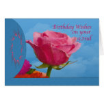 Birthday, 92nd, Pink Rose on Blue Greeting Card