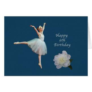 Birthday, 9th, Ballerina and White Peony Card