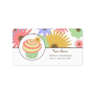 Birthday Address Label - Pink Cupcake & Flowers