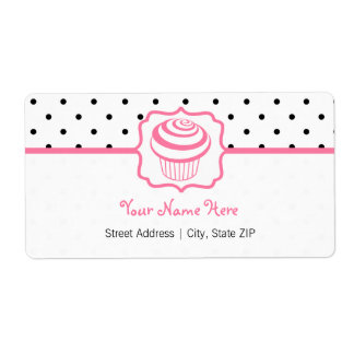 Birthday Address Label - Polka Dot / Pink Cupcake