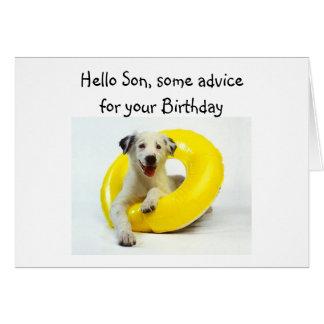 """BIRTHDAY ADVICE """"SON'S"""" BIRTHDAY GREETING CARD"""