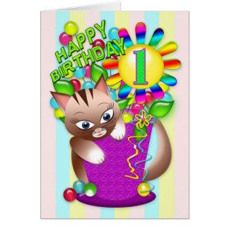 Birthday - Age 1 - Kitty Cat Celebrating Card