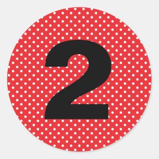 Birthday Age Red with White Polka Dots Round Sticker