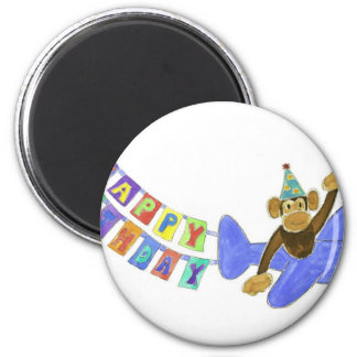 Birthday Airplane Monkey Refrigerator Magnet