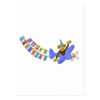 Birthday Airplane Monkey Postcard