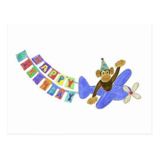Birthday Airplane Monkey Post Card