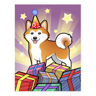 Birthday Akita Inu Shiba Inu Post Card