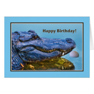 Birthday, Alligator and Golf Ball Card
