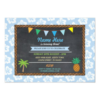 Birthday Aloha Tropical Blue Party Tiki Invite