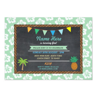 Birthday Aloha Tropical Green Party Tiki Invite