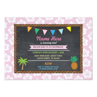 Birthday Aloha Tropical Pink Party Tiki Invite